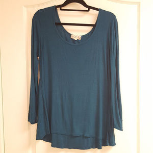 Pink Republic Teal Ribbed Lace Sleeved Top